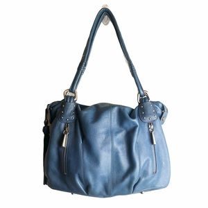 B. MAKOWSKY Blue Leather Shoulder Bag